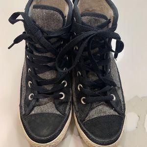 Converse black street, grey canvas high top shoes